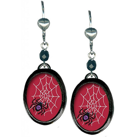 Classic Hardware Small Spider Oval Earrings Black Beads Cobwebs Skull