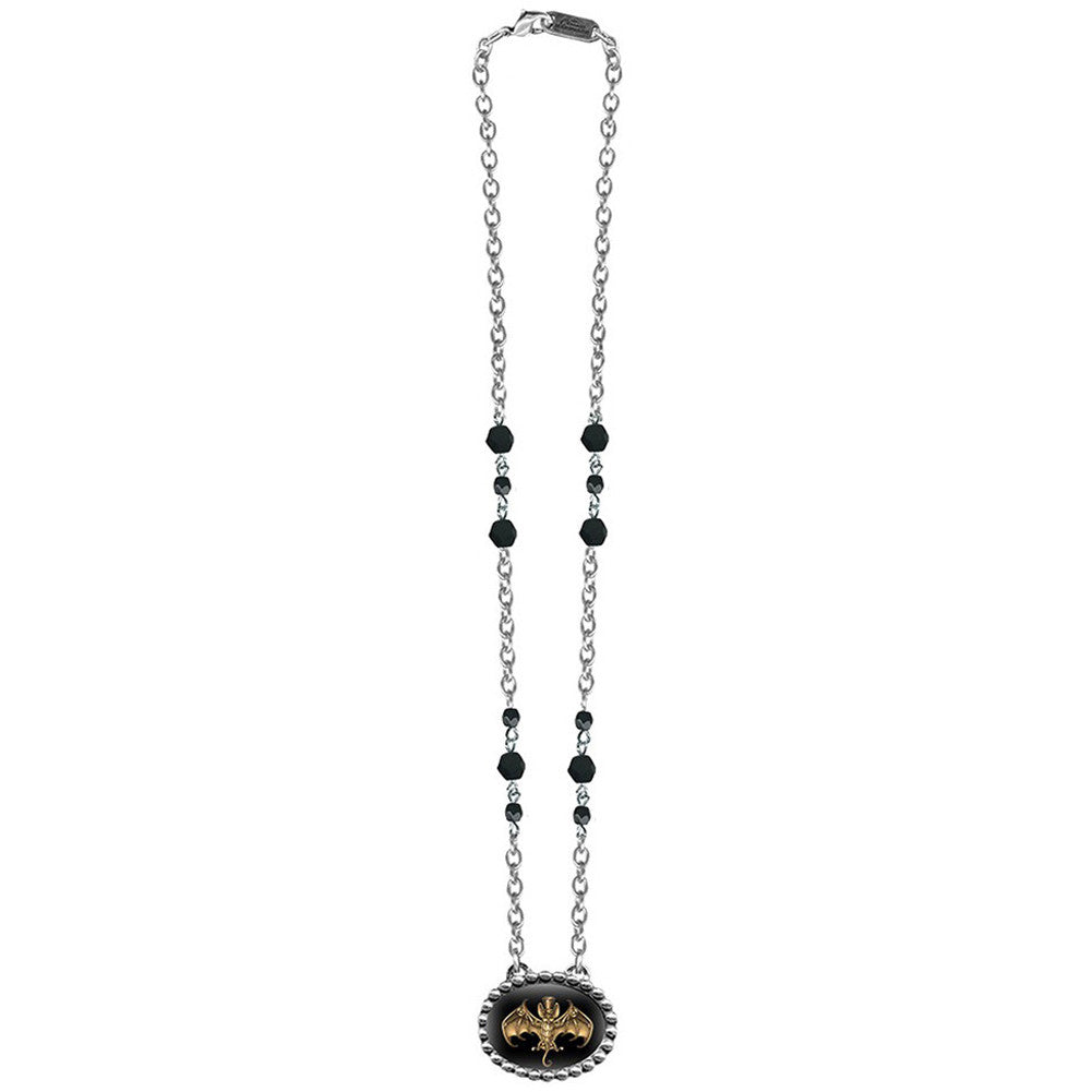 Classic Hardware Steampunk Bat Necklace With Jet Faceted Beads Black Goth