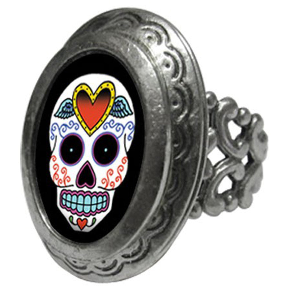 Classic Hardware Sugar 1 Small Oval Locket Ring Skull Day of the Dead Tattoo