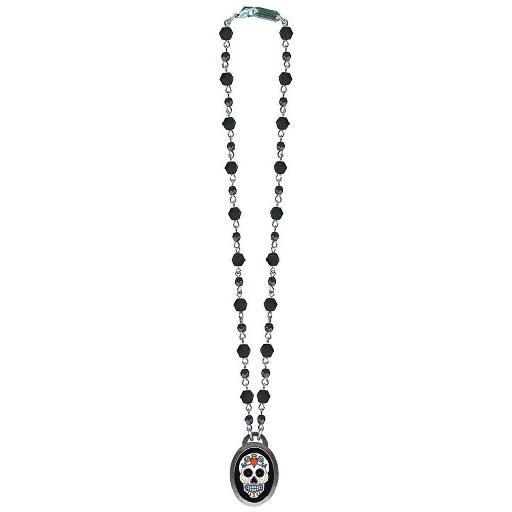 Classic Hardware Sugar 5 Oval Necklace Black Beads Day Of The Dead Tattoo