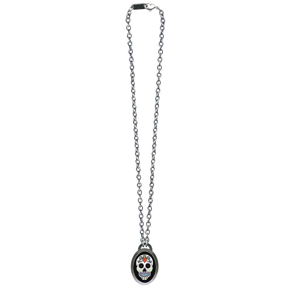 Classic Hardware Sugar 5 Oval Necklace Silver Day Of The Dead Tattoo