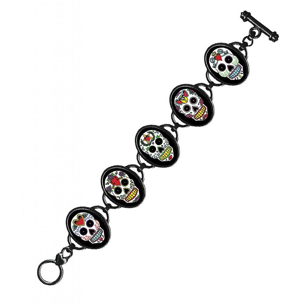 Classic Hardware Sugar Skulls 5 Link Bracelet Black Frame Day Of The Dead