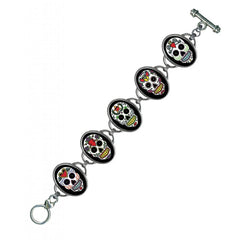 Classic Hardware Sugar Skulls 5 Link Bracelet Silver Frame Day Of The Dead