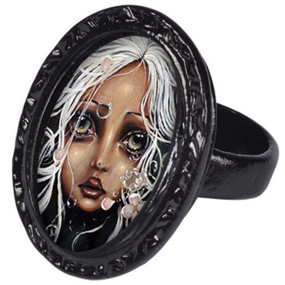Classic Hardware Water Lily Victorian Oval Ring Black Sad Girl