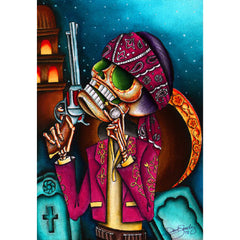 Clavo by Dave Sanchez Canvas Giclee Day of the Dead Skeleton Bandito Gun