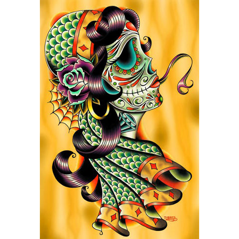 Cold Blooded Gypsy Fine Art Print by Tyler Bredeweg Day of the Dead Sugar Skull