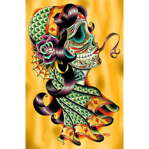 Cold Blooded Gypsy by Tyler Bredeweg Canvas Giclee Day of the Dead Sugar Skull
