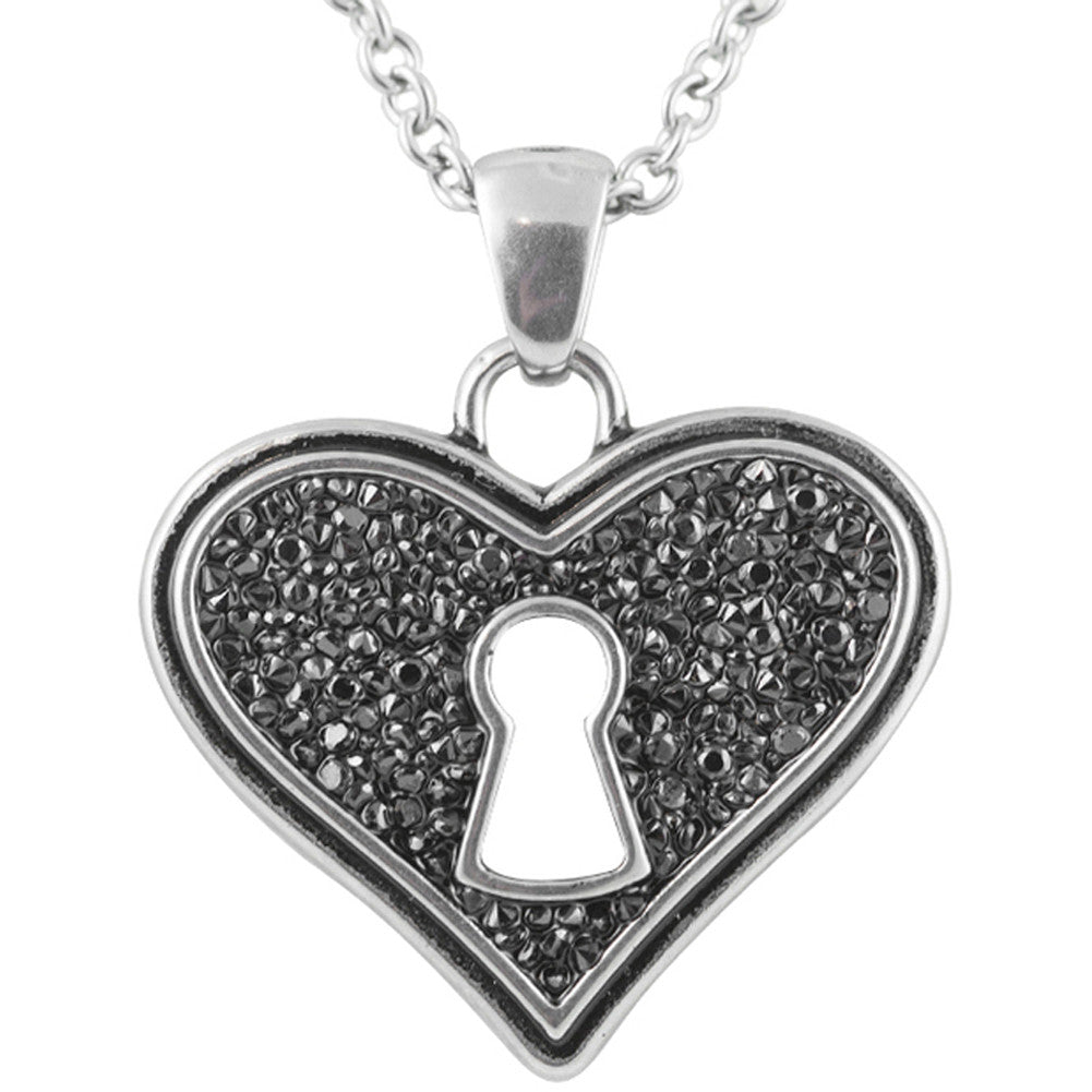 Controse Jewelry Bejeweled Heart Necklace Heart Lock