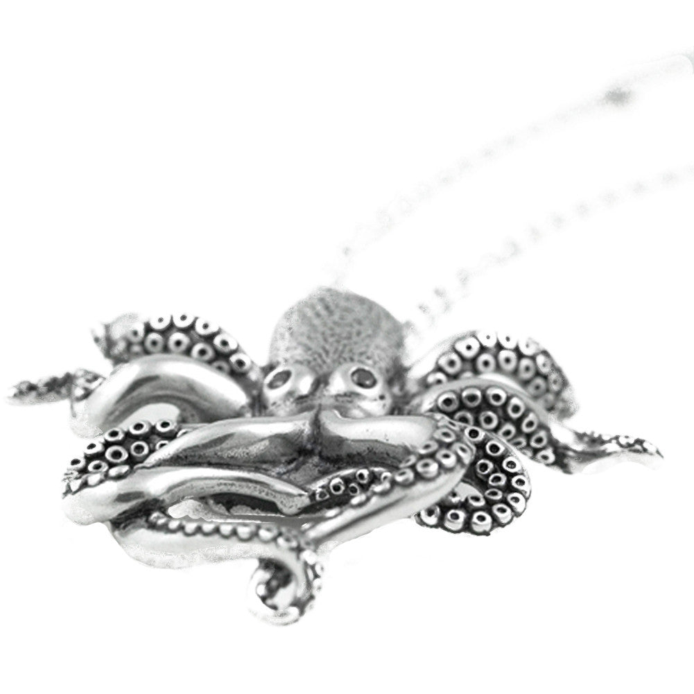 Controse Jewelry Black CZ Eyed Octopus Necklace Nautical