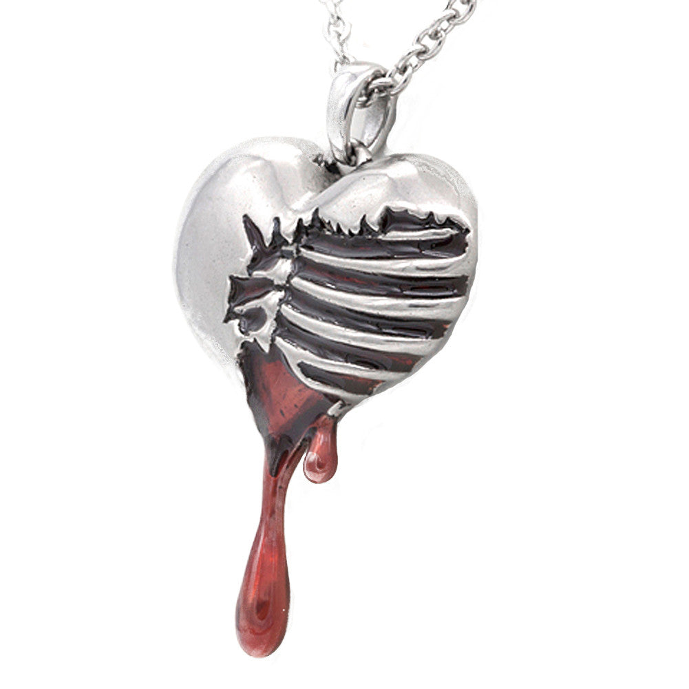 Controse Jewelry Bleeding Heart Necklace Skeleton Broken Heart