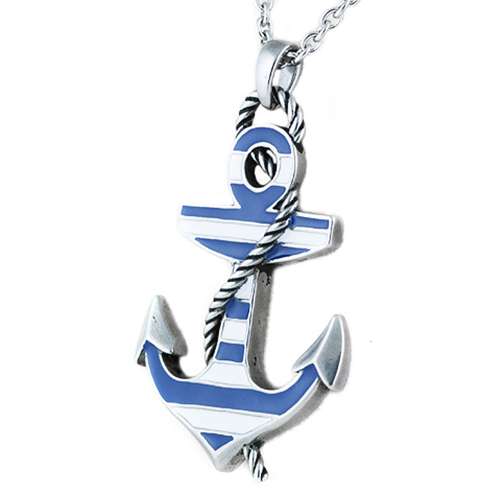Controse Jewelry Blue Color Striped Anchor Necklace  Nautical