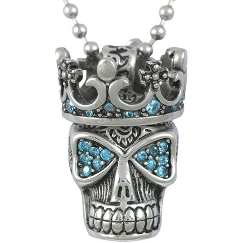Controse Jewelry Blue Fire Skull with Crown Necklace Blue Crown Punk Goth