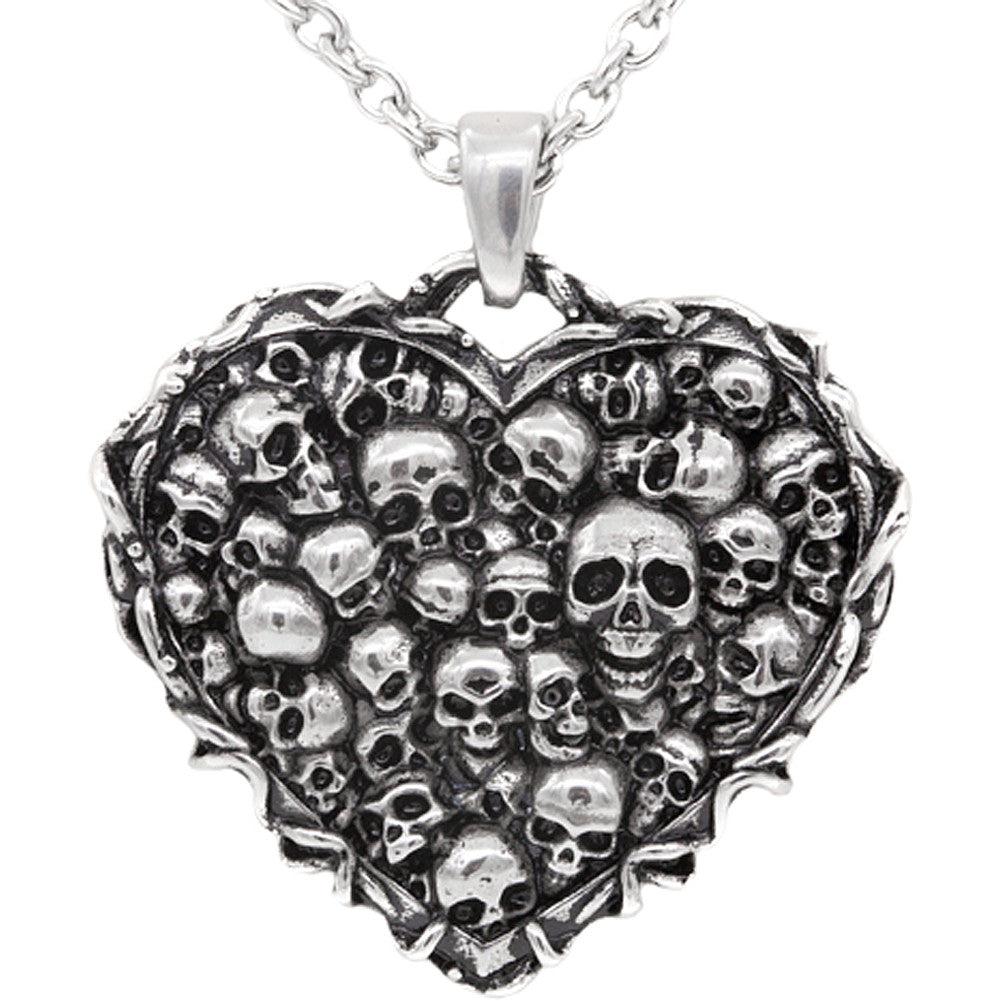 Controse Jewelry Captivated Souls Heart Necklace Skulls Punk Goth