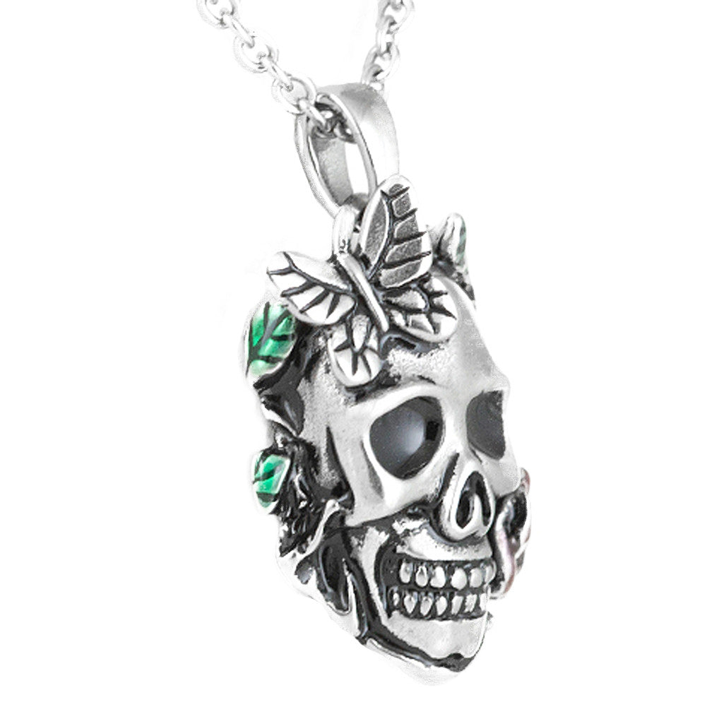 Controse Jewelry Garden Of Life Skull Rose Butterfly Necklace Punk