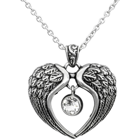 Controse Jewelry Heart Angel Wings Necklace - Wings of Light Swarovski Crystals