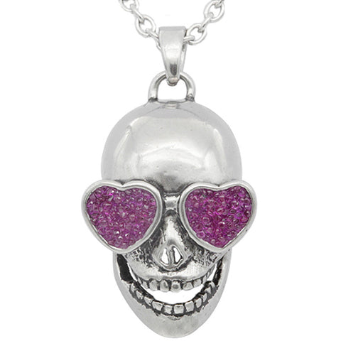 Controse Jewelry Love In Your Eyes Skull Necklace Pink Hearts Punk