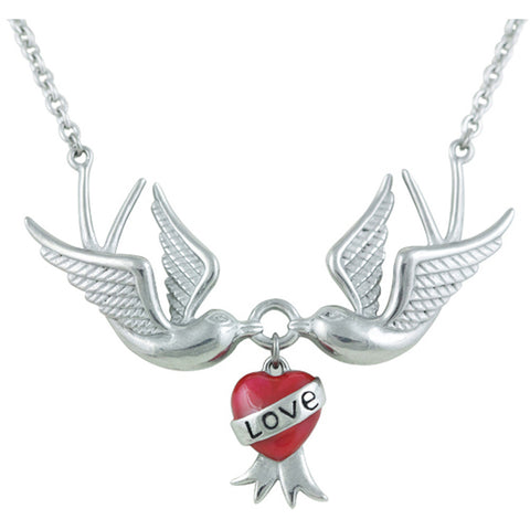 Controse Jewelry Love Swallows Necklace Heart Tattoo Inspired