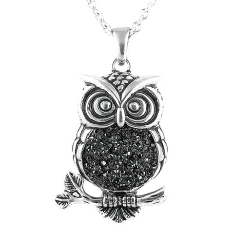 Controse Jewelry Mid-Nighter Owl Necklace Stones