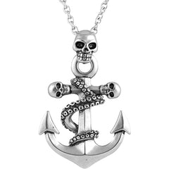 Controse Jewelry Octo-Skull Anchor Necklace  Nautical Skulls Tenticles