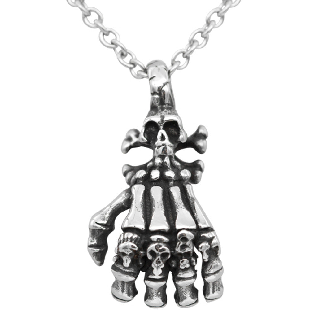 Controse Jewelry Punk Skull Hand Necklace Bones