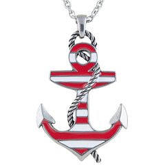 Controse Jewelry Red Color Striped Anchor Necklace  Nautical