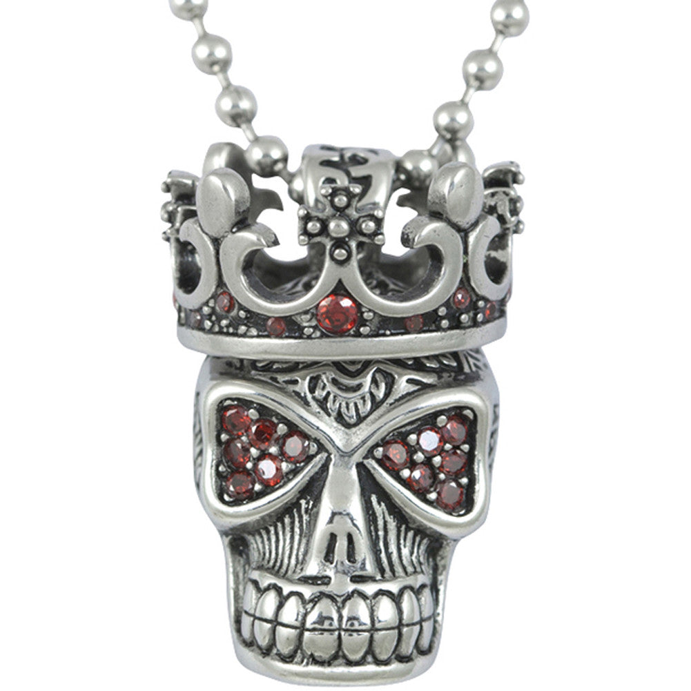 Controse Jewelry Red Fire Skull with Crown Necklace Red Crown Punk Goth