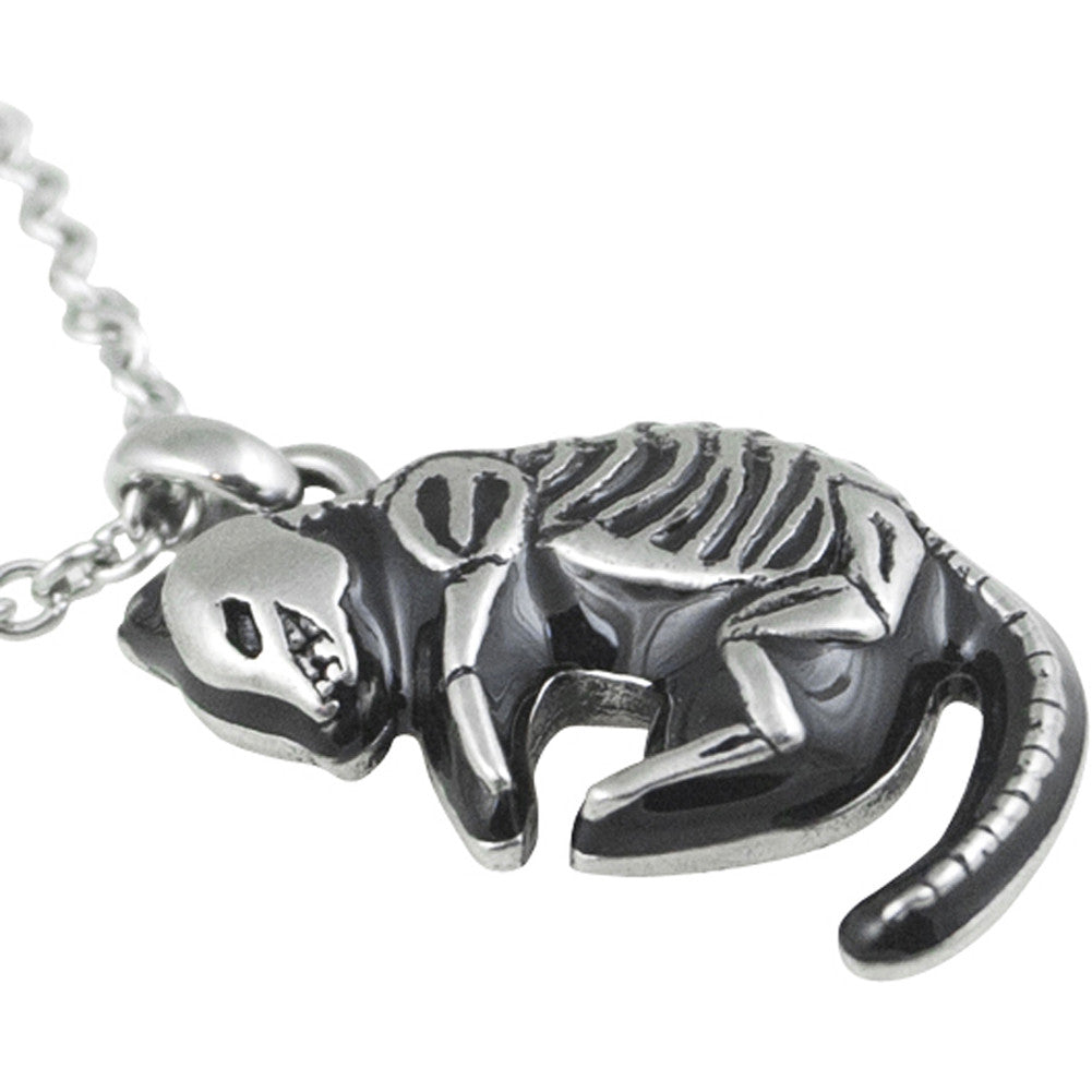 Controse Jewelry Skeletal Feline Necklace Skeleton Cat Bones Goth