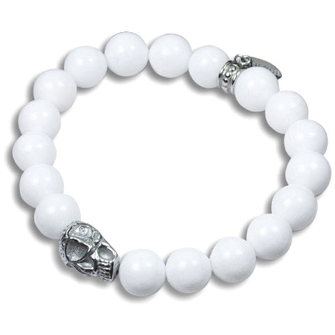 Controse Jewelry Skull And Stones Bracelet White Day of the Dead Sugar Skull