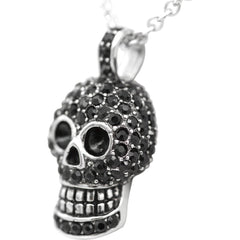 Controse Jewelry Skull Necklace With Black Cubic Zirconia Punk