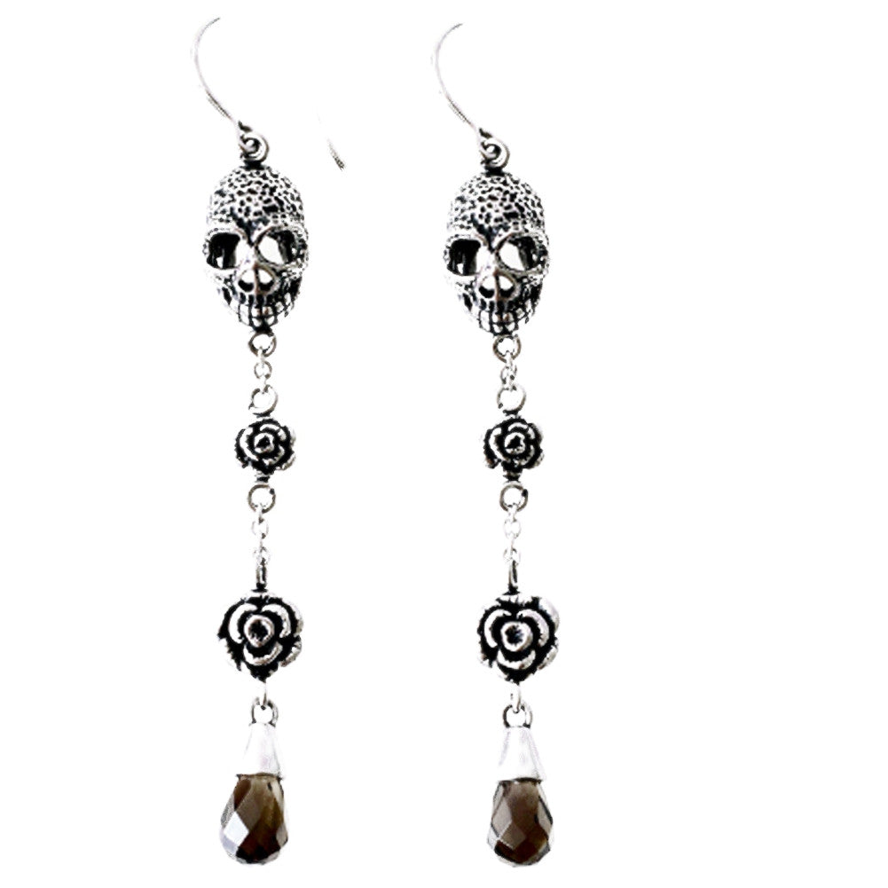 Women's Controse Jewelry Skulls And Roses Earrings