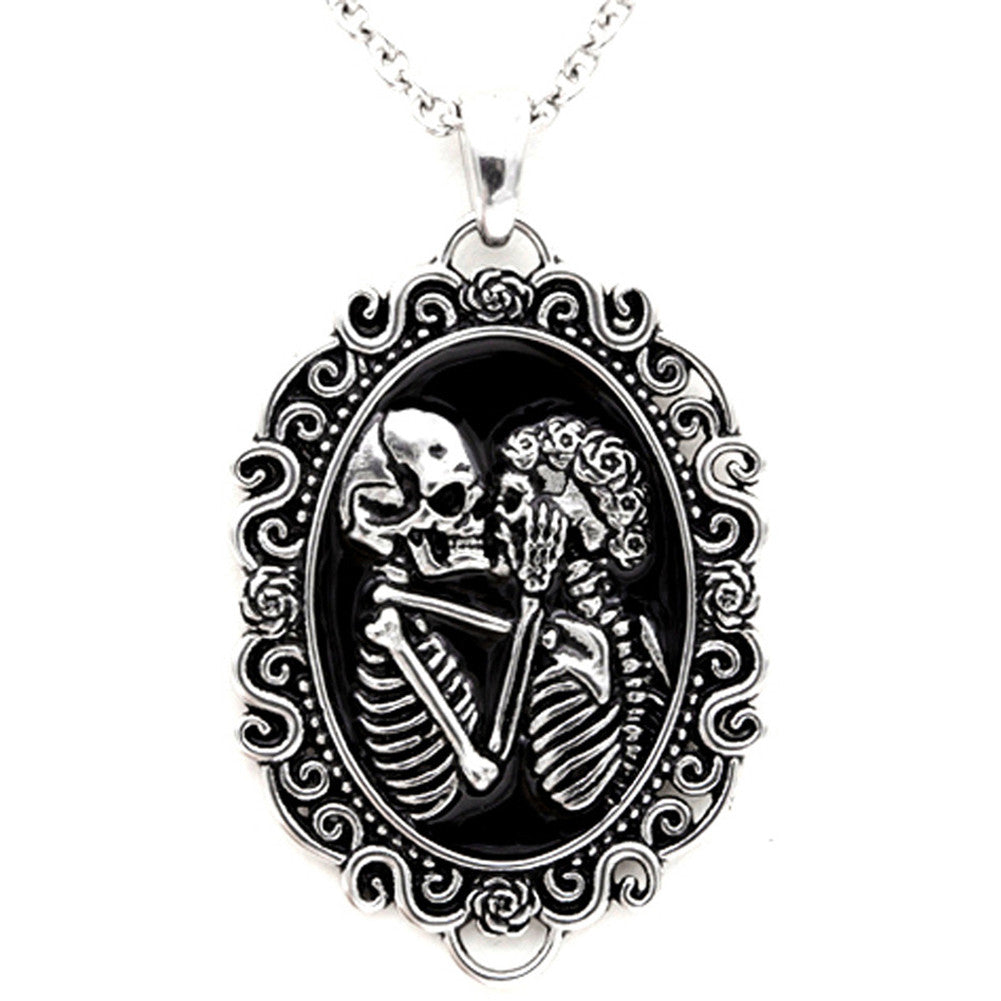 Controse Jewelry The Eternal Lovers Skull Cameo Necklace Necromance Cameo