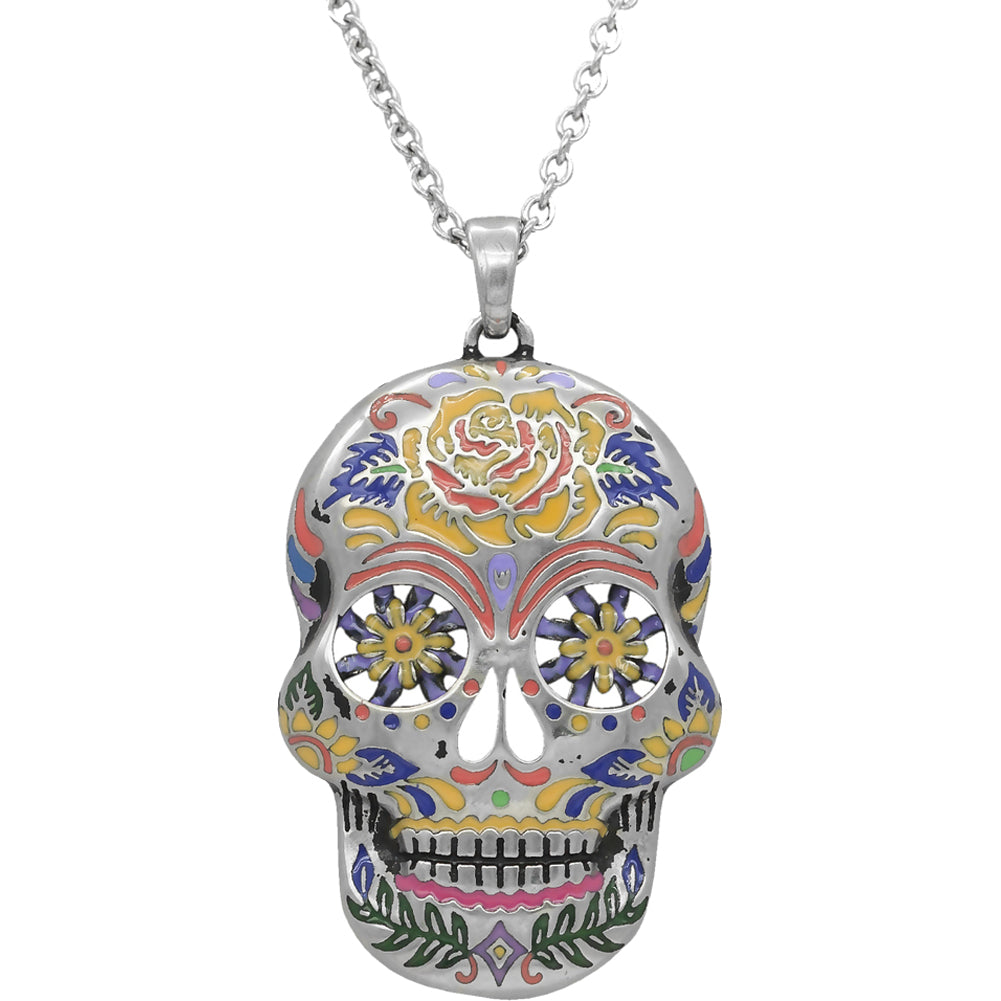 los necklace muertos dia flower skull cameo sugar large de pendant products img