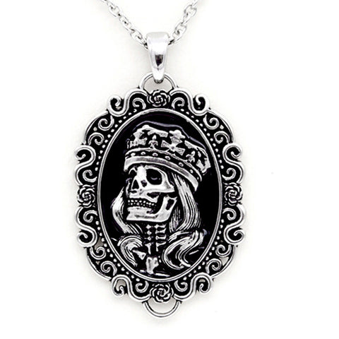 Controse Jewelry The Skull King Cameo Necklace Skeleton Crown Cameo