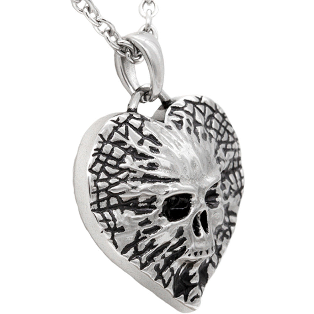 Controse Jewelry Undying Love Skull Heart Necklace Skull Punk Goth