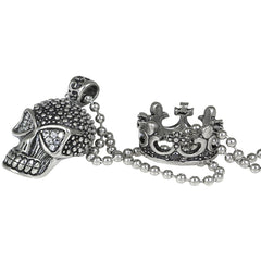 Controse Jewelry White Fire Skull Necklace Crown Punk Goth