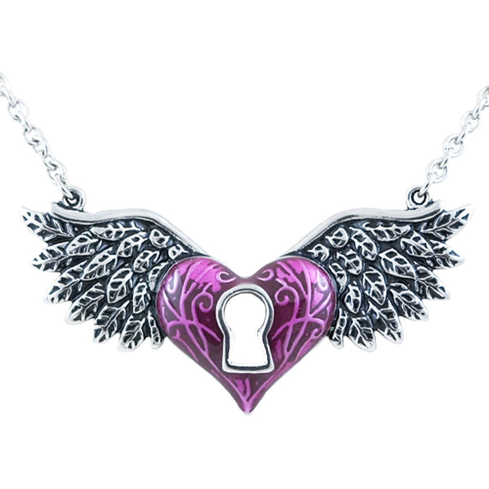Controse Jewelry Winged Heart Necklace Purple