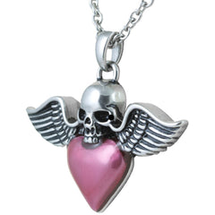 Controse Jewelry Winged Skull & Heart Necklace Punk