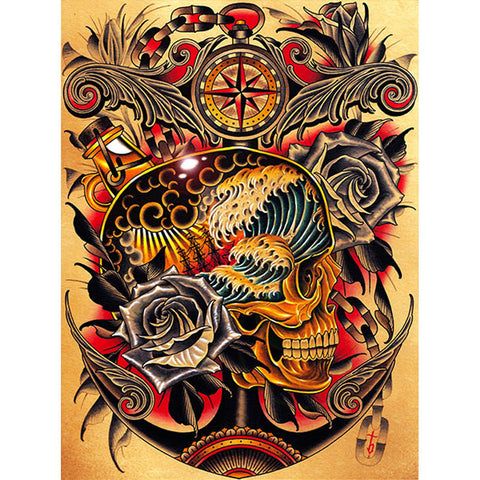Course Canvas Giclee by Tyler Bredeweg American Traditional Nautical Tattoo Art