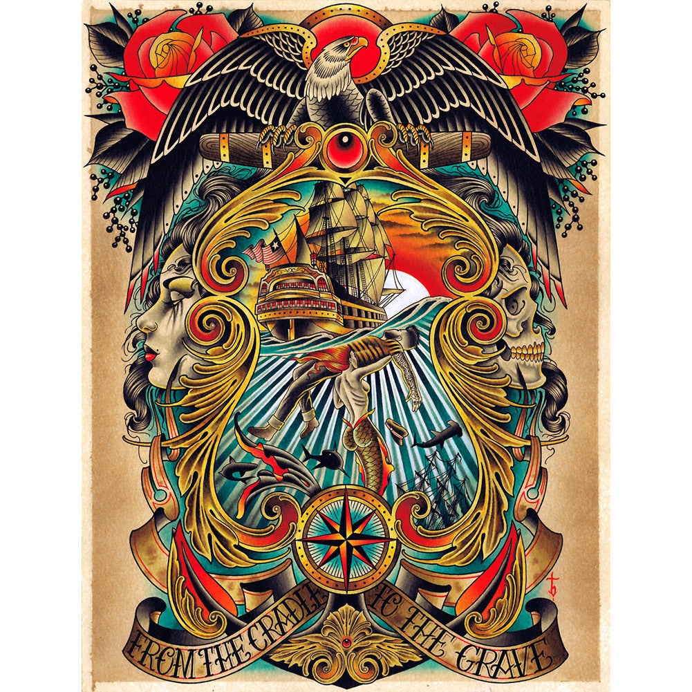 Cradle to the Grave Canvas Giclee by Tyler Bredeweg American Traditional Tattoo
