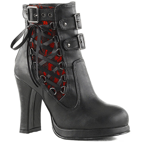 Women's Demonia Crypto-51 Platform Two Tone Corset-Style Ankle Boot Goth Punk