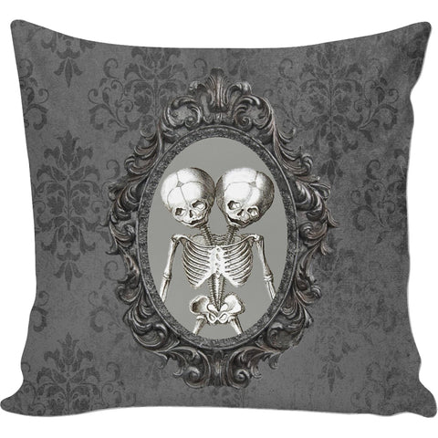 Mayhem Marilyn Damask Conjoined Skeleton Pillow