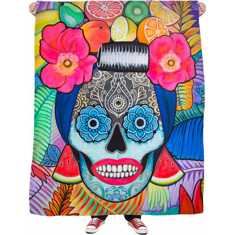 Day of the Dead Tropical Mama Fleece Blanket