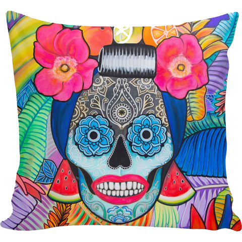 Day of the Dead Tropical Mama Pillow