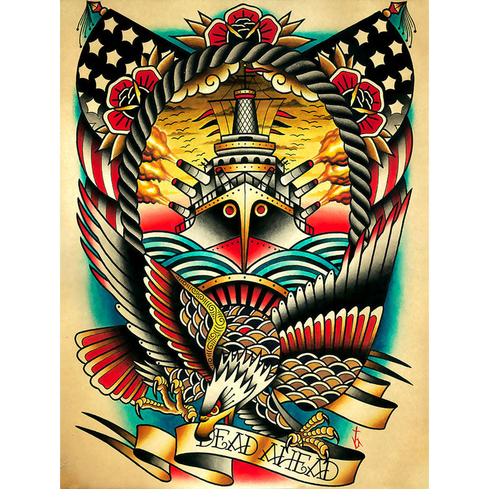 Dead Ahead Canvas Giclee by Tyler Bredeweg American Traditional Nautical Tattoo