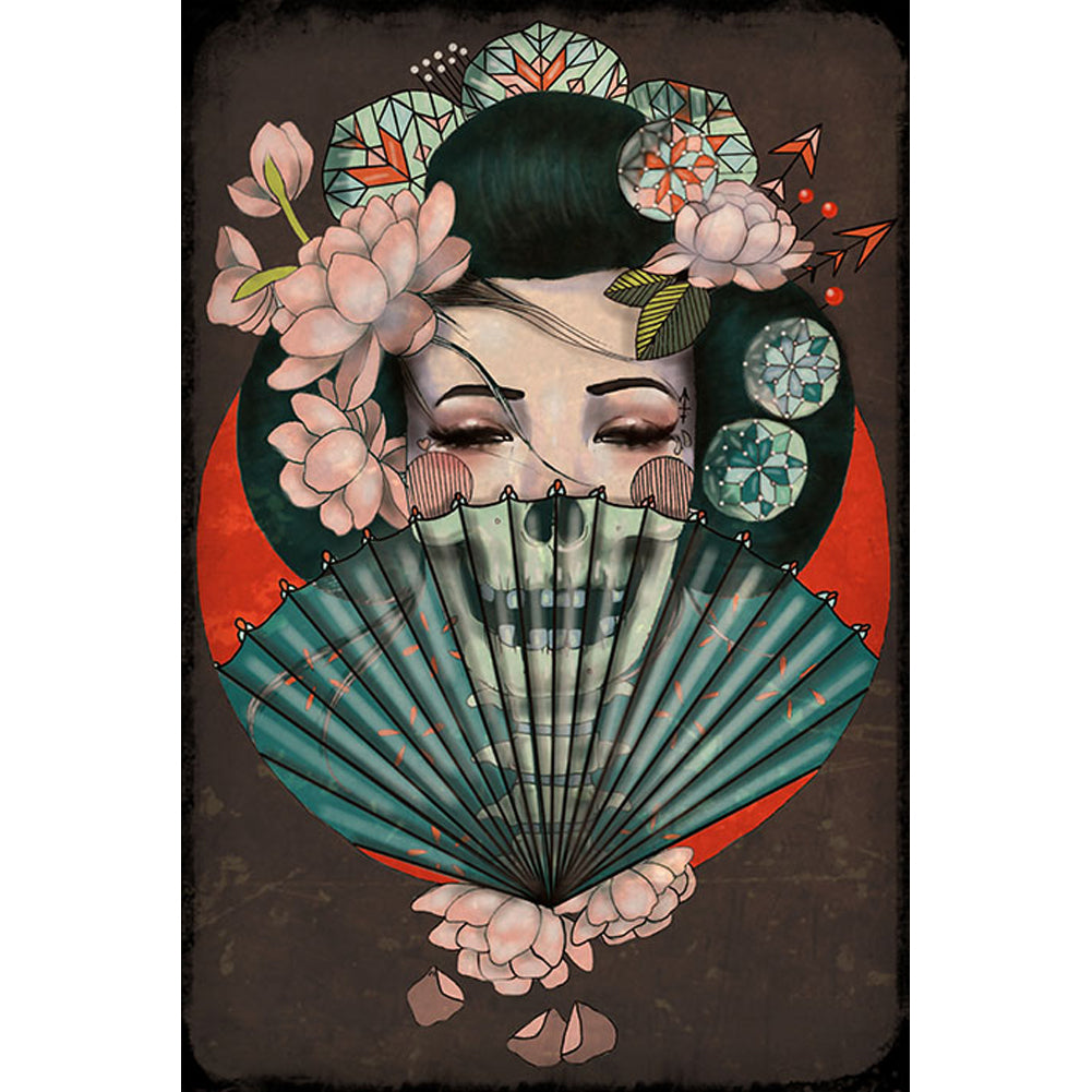 Death Becomes Her Fine Art Print by Amy Dowell Asian Japanese Geisha Skull Fan