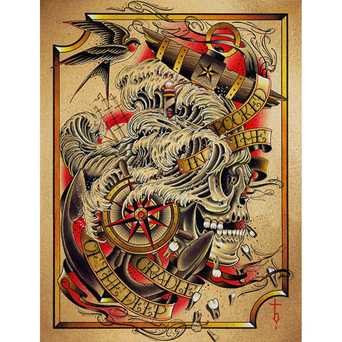 Deep Canvas Giclee by Tyler Bredeweg American Traditional Nautical Tattoo Art