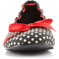 Demonia Daisy 20 Flats Black/White Polka Dot Red Ribbon Bow Retro Rockabilly