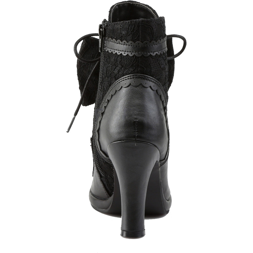 Demonia GLAM-200 Platform Lace-Up Ankle Boot Black Victorian Inspired Goth