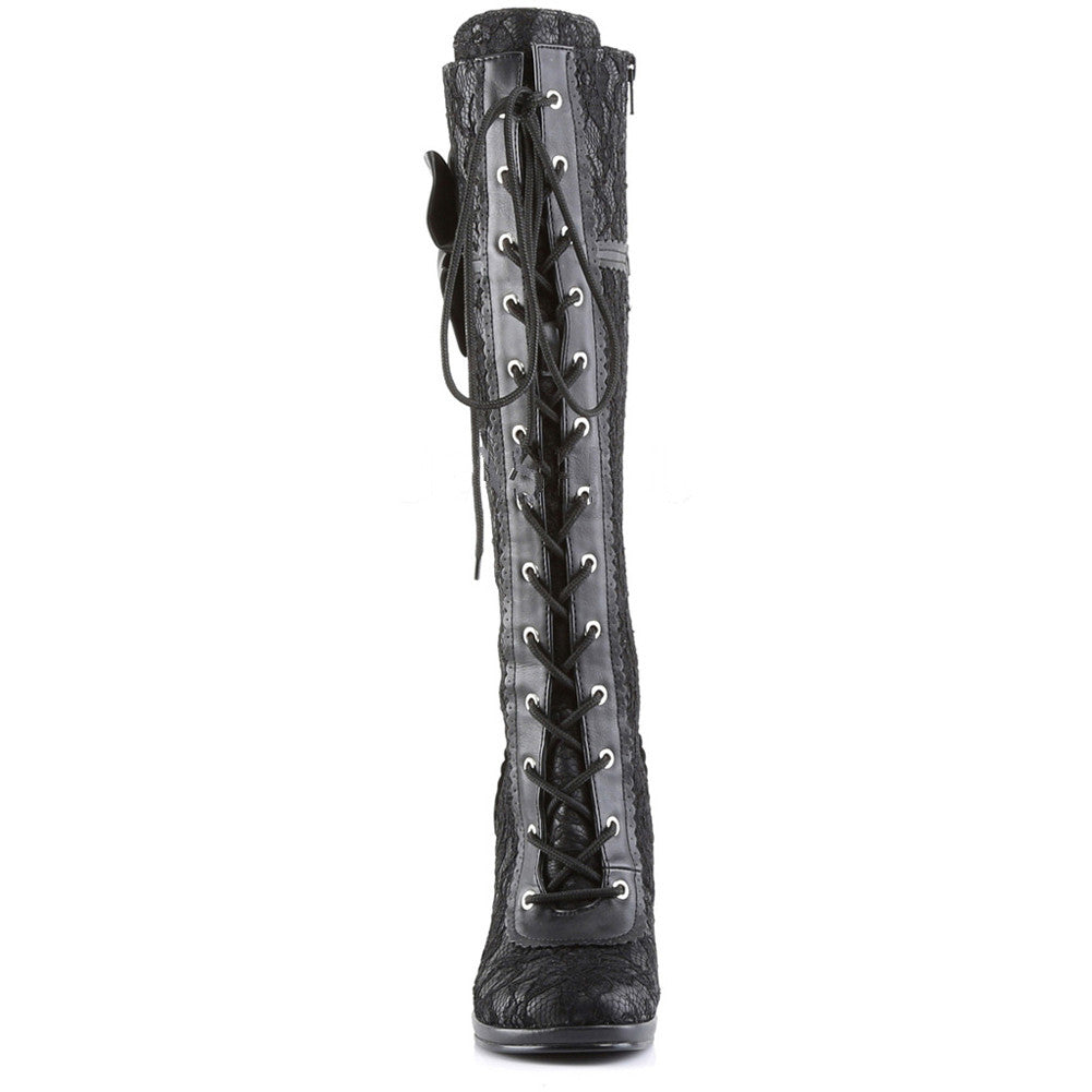 Demonia Glam-240 Lace-Up Knee Boot Black Bow Lace Overlay
