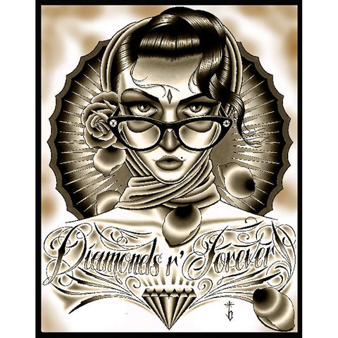 Diamonds R Forever Black Canvas Giclee By Tyler Bredeweg